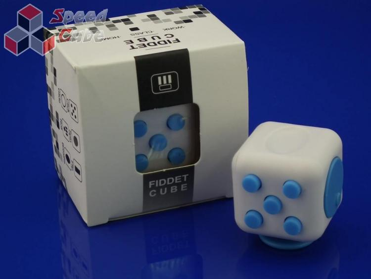 FidGet Cube - Kostka odstresowująca WH/BLUE