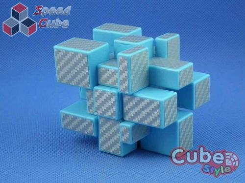 Cube Style Mirror 3x3x3 Blue Body - Silver CarBon