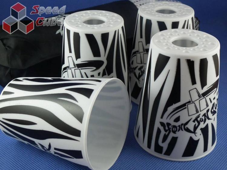 YongJun Stacking Cups Graffiti Białe