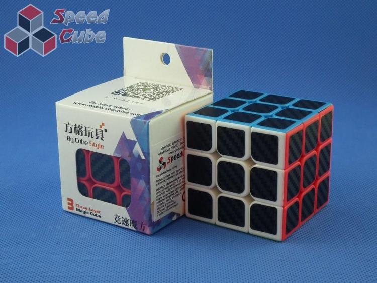 Cube Style 3x3x3 Red - CarBon stickers 57 mm