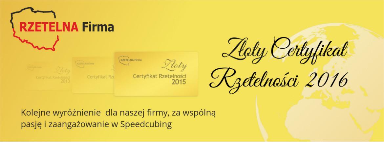 SpeedCube- Złoty Certyfikat 2013-2016